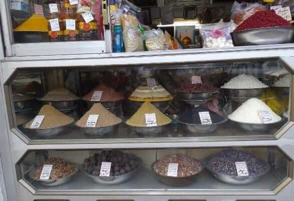 The many spice displays typical of Iran